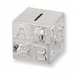 silver-plated baby block bank