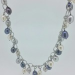 Sterling Silver Multi-Color Drop Pearl Necklace