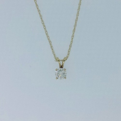 14k Yellow Gold Diamond Pendant Round Solitaire