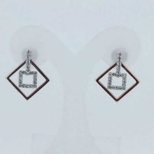 14k Two Tone Diamond Dangle Earrings