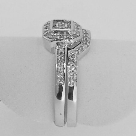 14k white gold square halo engagement ring - Halo Wedding Ring