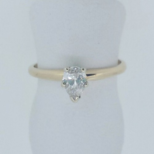 14K Yellow Gold Pear Shaped Diamond Engagement Ring