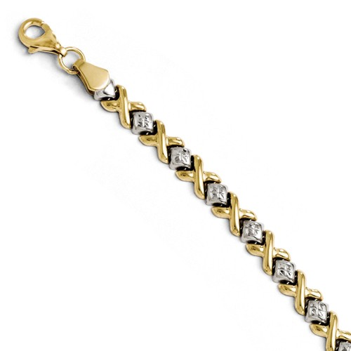 10k Two-Toned Diamond-Cut Bracelet