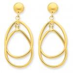 14k Polished Oval Dangle Earrings