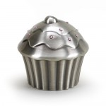 Pewter Finish Cupcake Bank with Pink Crystals