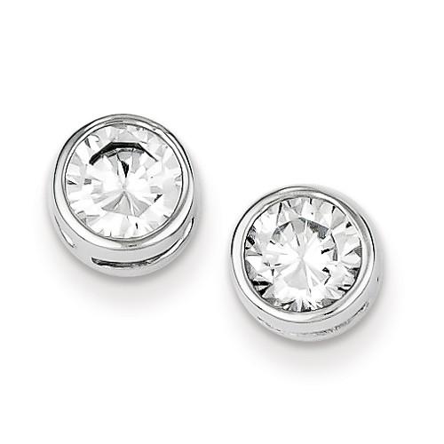 Sterling Silver Cubic Zarconia 6mm Stud Earrings