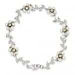 Sterling Silver Freshwater Cultured Pearl and Cubic Zarconia Bracelet
