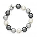 Sterling Silver 12-13mm Multi-color Shell Pearl Bracelet