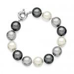 Sterling Silver 12-13mm Multi-color Shell Pearl Bracelet