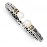 Sterling Silver with 14k Yellow Gold Accent 11.5mm Freshwater Cultured Pearl & Diamond Cuff Bracelet