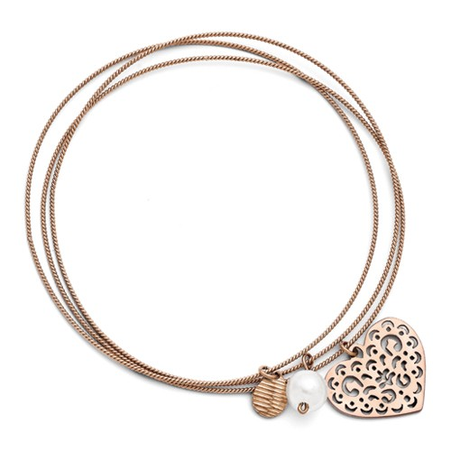 Stainless Steel Rose Plated Simulated Pearl Texutred and Polishd Slip On Heart Bangle