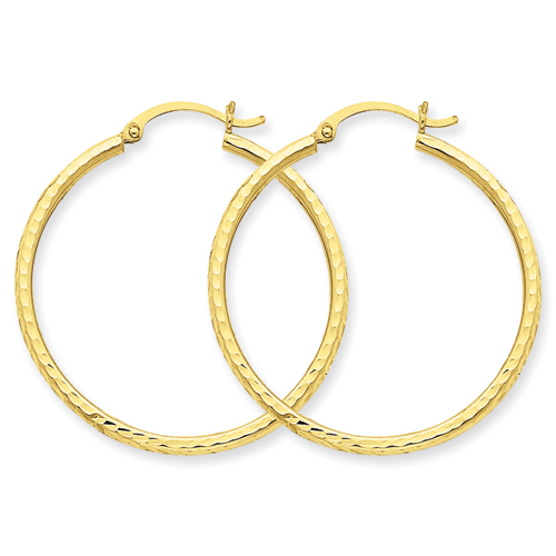 14k Diamond Cut 2mm Round Hoop Earrings