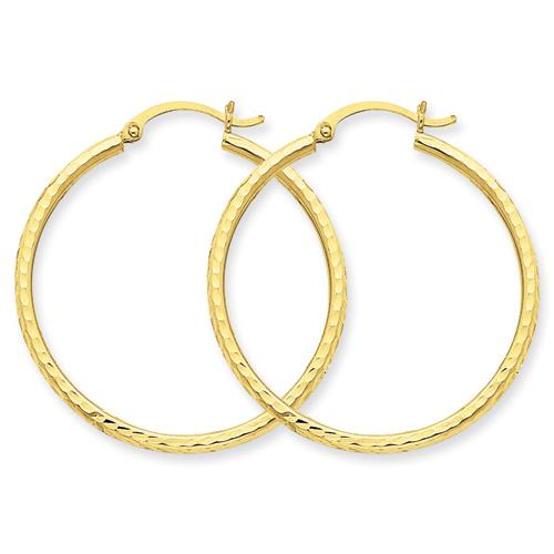 14k Diamond Cut 2mm Round Hoop Earrings