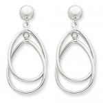 14k White Gold Polished Oval Dangle Post Earrings