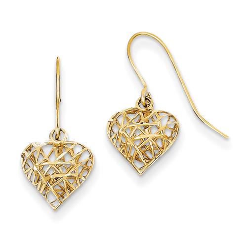 14k Diamond Cut Puffed Heart Dangle Earrings
