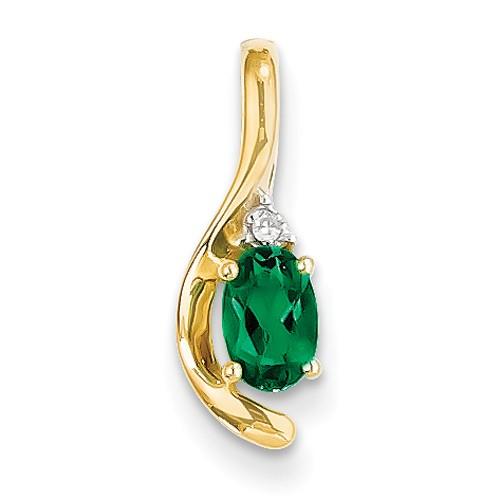 14K Diamond & Genuine Emerald Pendant