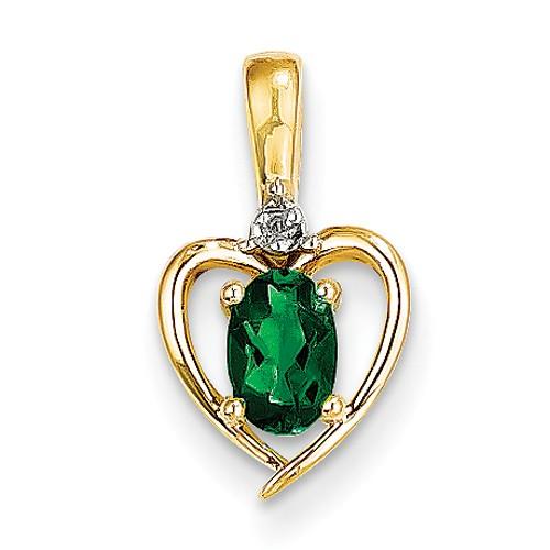 14K Yellow Gold Diamond & Genuine Emerald Pendant