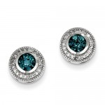 14k White Gold Blue & White Diamond Earrings