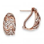 14k Rose Gold Diamond Omega Back Post Earrings