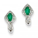 14k White Gold 1/6Ct Diamond & Emerald Earrings