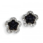 14K White Gold Diamond & Sapphire Flower Post Earrings