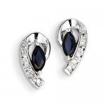 14K White Gold Diamond Sapphire Post Earrings