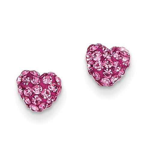 41109575d ... Gold Rose Crystal Heart Post Earrings. 14k Rose Crystal 6mm Heart Post  Earrings