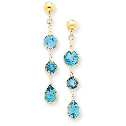 14k Blue Topaz Gemstone Dangle Earrings