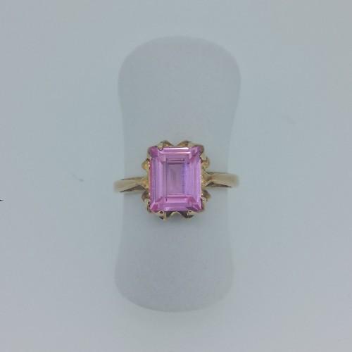 10k Yellow Gold Pink Ice Ring