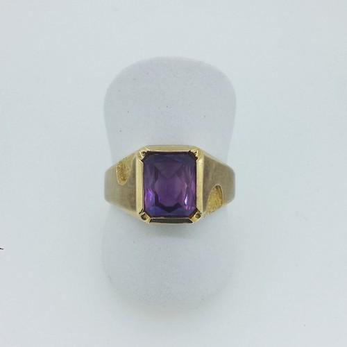10k Yellow Gold Synthetic Alexandrite Men's Ring