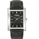 Men's Black Leather Strap Watch
