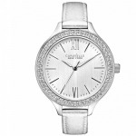 Ladies Silver Metallic Leather Strap Watch