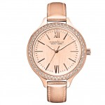 Ladies Rose Metallic Leather Strap Watch