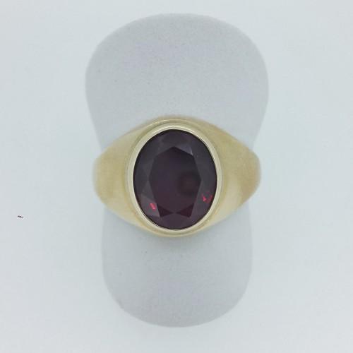 10k Yellow Gold Synthetic Garnet Men's Ring