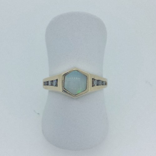 10k Yellow Gold Opal Ring with Side Stones