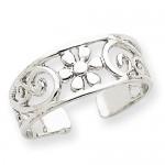 14k White Gold Floral Toe Ring