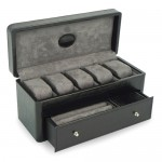 Black Leather Crocodile Pattern Accessories Case