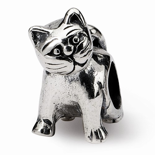 Sterling Silver Antique Reflections Cat Bead
