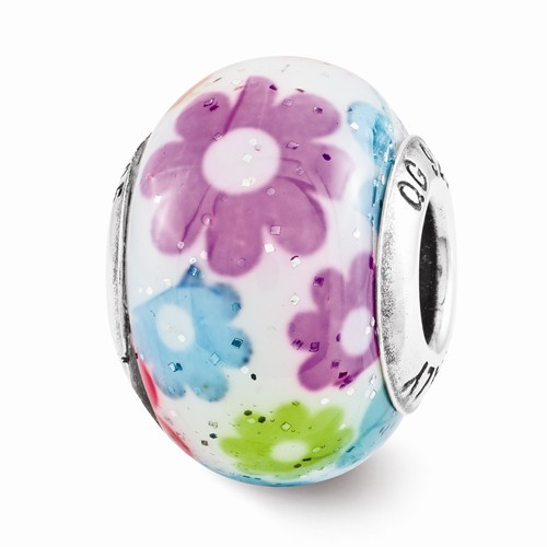 Sterling Silver Reflection Multi-Color Floral Overlay Bead