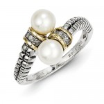 Sterling Silver w/14k 6mm FWC Pearl & Diamond By-Pass Ring