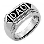Stainless Steel Black Enamel Polished Dad Band