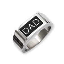 Stainless Steel Black Enamel Dad Money Ring