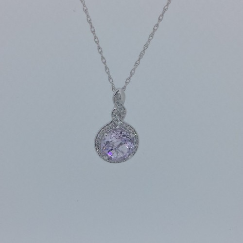 14k White Gold Amethyst Necklace with Diamond Halo