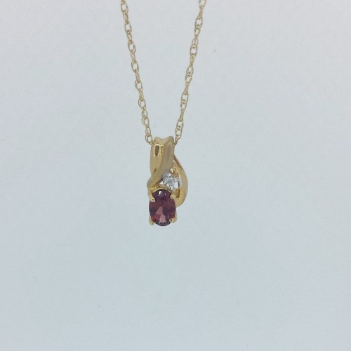 14k Yellow Gold Oval Garnet Necklace