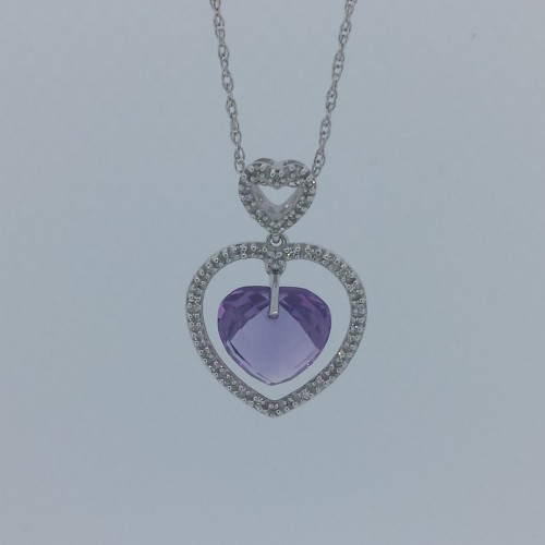 14k White Gold Open Heart Necklace with Dangle Amethyst