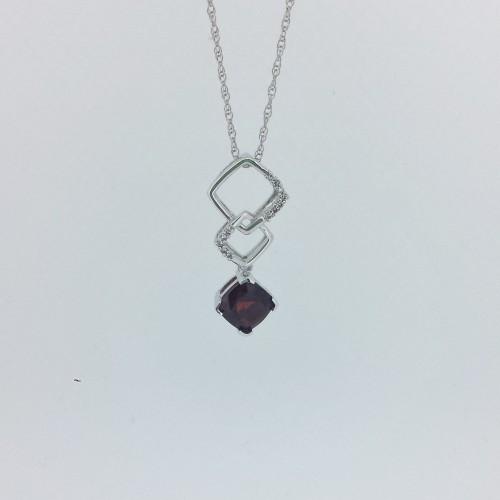 14k White Gold Drop Garnet and Diamond Necklace