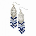 Silver-tone Light & Dark Blue Glass Beads Dangle Earrings