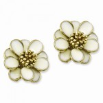 Gold-tone Cream Enamel Flower Post Earrings