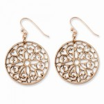 Rose-tone Round Dangle Earrings