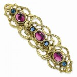 Gold-tone Blue and Purple Glass Stones Barrette
